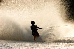 Blootvoetse waterskiër Stock Foto