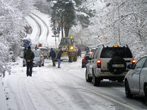 Bloque de camino de las nevadas fuertes Fotografía de archivo