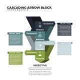 Bloque de conexión en cascada Infographic de la flecha Imagen de archivo libre de regalías