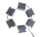 Bloque de la batería conectado por los alambres Foto de archivo libre de regalías