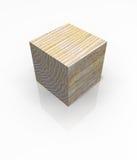 Bloque de madera aislado del cubo Fotografía de archivo libre de regalías