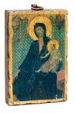 Bloque de madera colgante con la impresión vieja de la Virgen Maria Fotos de archivo libres de regalías