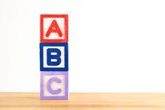 Bloque de madera del juguete de ABC Imagenes de archivo