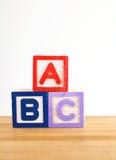 Bloque de madera del juguete de ABC Fotos de archivo libres de regalías