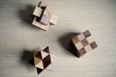 Bloque de madera del rompecabezas del juguete Fotografía de archivo libre de regalías