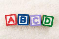 Bloque del juguete de ABCD Foto de archivo libre de regalías