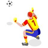 Bloque del portero del fútbol Atleta Sports Icon Set del jugador de fútbol Reserva isométrica del portero del partido de fútbol d Ilustración del Vector