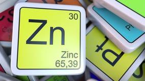 Cinc zn tabla peridica del elemento qumico stock de bloque del zn del cinc en la pila de tabla peridica de los bloques de los urtaz Images