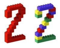 Bloque dos del juguete de la fuente del pixel Imágenes de archivo libres de regalías
