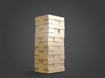 Bloque le jenga en bois de jeu sur le fond noir Image libre de droits