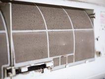 Bloqueador home do filtro do ` s do condicionador de ar com inteiramente da poeira, fi sujo foto de stock royalty free