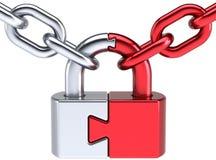 Bloquee el concepto de la salvaguardia de la seguridad del rompecabezas del candado Imágenes de archivo libres de regalías
