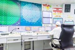 Bloquee el tablero de control del reactor de central nuclear imagen de archivo libre de regalías