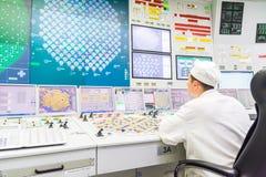 Bloquee el tablero de control del reactor de central nuclear Fotografía de archivo libre de regalías