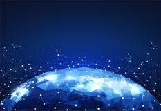 Bloquee las conexiones de red global con los puntos y las líneas en mapa del mundo Wireframe de las comunicaciones de la red stock de ilustración