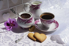 Bloqueie das pétalas cor-de-rosa, do café e do creme Fotos de Stock Royalty Free