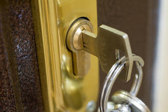 Bloqueo casero y clave Fotografía de archivo