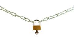 Bloqueo de cadena con un clave Imágenes de archivo libres de regalías