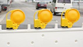 Bloqueo de la calle - señal de peligro amarilla tres Fotos de archivo libres de regalías