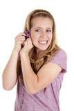 Bloqueo de la cosecha de la muchacha tensionado Imagen de archivo libre de regalías