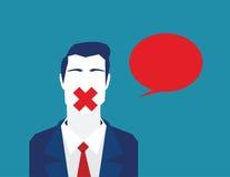 Bloqueo de la libertad para hablar o para comentar El hablar cerrado de la libertad megabus Imágenes de archivo libres de regalías