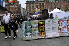 BLOQUEO EN AYUNTAMIENTO COPENHAGUE SQ Orgullo de Copenhague Imagen de archivo libre de regalías