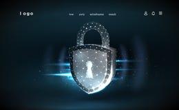 bloqueo Malla poligonal del wireframe Ilustra seguridad de datos cibern?tica o idea de la privacidad de la informaci?n Resuma hol libre illustration