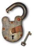 Bloqueo viejo y clave Foto de archivo