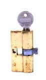 Bloqueo y clave de puerta Fotografía de archivo