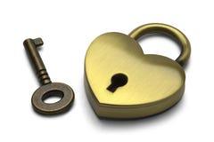 Bloqueo y clave del corazón Fotos de archivo