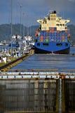 Bloqueos, Canal de Panamá Foto de archivo libre de regalías
