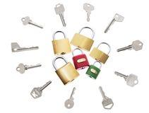 Bloqueos y claves imagen de archivo