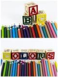 Bloques coloreados del ABC de la escuela de los lápices Imágenes de archivo libres de regalías