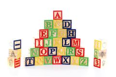 Bloques de ABC en el fondo blanco Foto de archivo libre de regalías