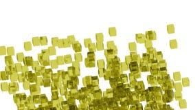 Bloques de cristal amarillos colocados aleatoriamente en espacio con el fondo blanco Foto de archivo