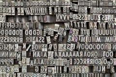 Bloques de impresión de la prensa de copiar de Metaltype Imágenes de archivo libres de regalías