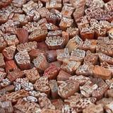 Bloques de impresión indios del hanmade Bloques de impresión de madera para la materia textil Imagen de archivo