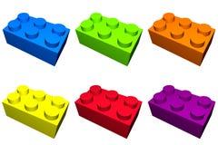 Bloques de la construcción en el aislamiento colorido Imagen de archivo