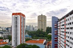 Bloques de la vivienda de protección oficial de Singapur Chinatown fotografía de archivo libre de regalías