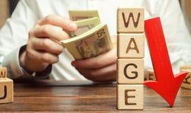 Bloques de madera con el salario de la palabra y la flecha roja abajo Reducci?n del sueldo Descenso en beneficios Crisis financie fotografía de archivo libre de regalías