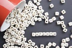 Bloques de madera con la palabra Feedom ABC de madera Foto de archivo