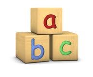 Bloques de madera con las cartas del ABC Fotografía de archivo
