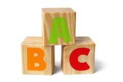 Bloques de madera con las letras de ABC Imagen de archivo libre de regalías