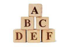 Bloques de madera con las letras de ABCDEF Fotografía de archivo libre de regalías