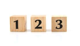Bloques de madera con números Fotos de archivo