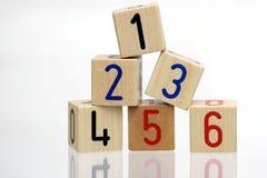 Bloques de madera con números Fotografía de archivo libre de regalías