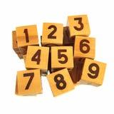 Bloques de madera con números Imagen de archivo libre de regalías