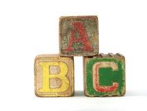 Bloques de madera de la vendimia del ABC Fotografía de archivo