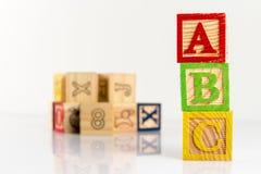 Bloques de madera del ABC Imágenes de archivo libres de regalías