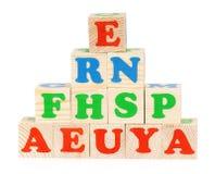 Bloques de madera del alfabeto Fotos de archivo libres de regalías